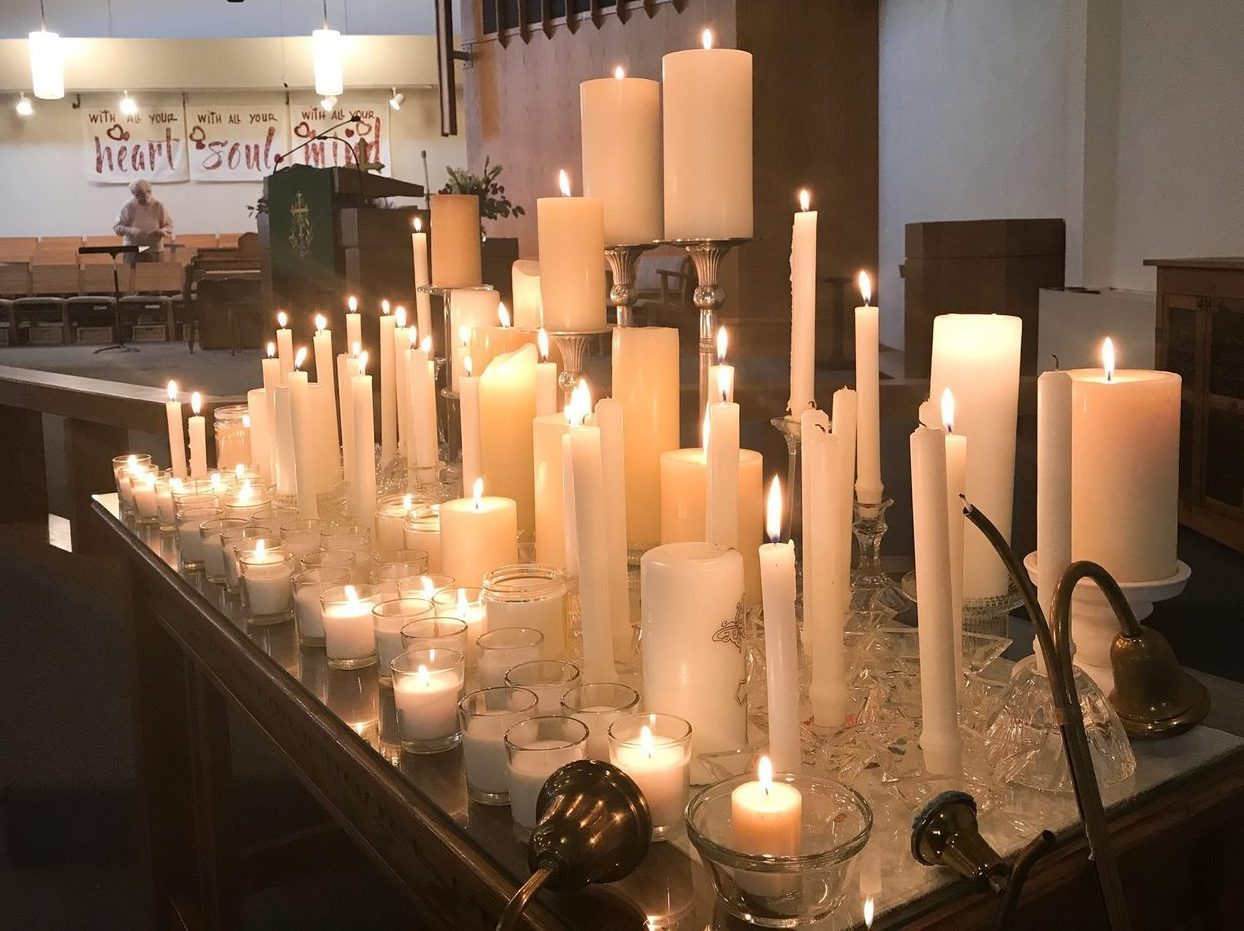 Bethany candles for gun violence victims.